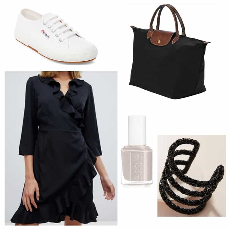 Black and White Ruffle dress outfit: Little black dress, black cuff, sneakers, Longchamp tote