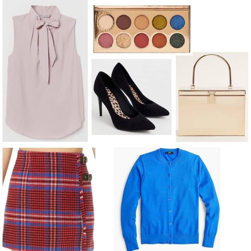 Fallon Carrington Outfit - Dynasty fashion with plaid skirt, blue top, pointed toe heels