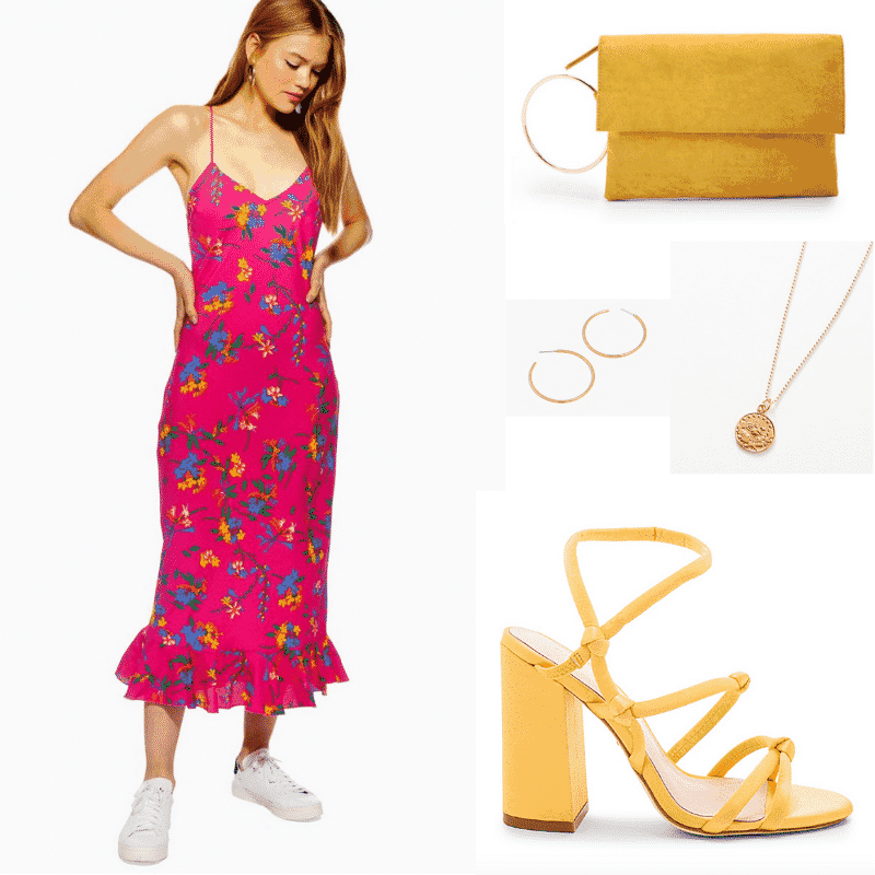 Carrie Bradshaw inspired outfit for spring with floral dress and yellow shoes, bag and accessories