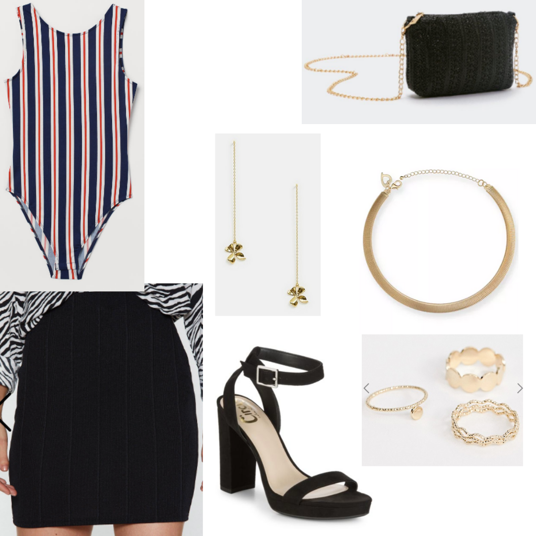 Striped bodysuit outfit for night with black skirt, black purse, gold jewelry, strappy heels