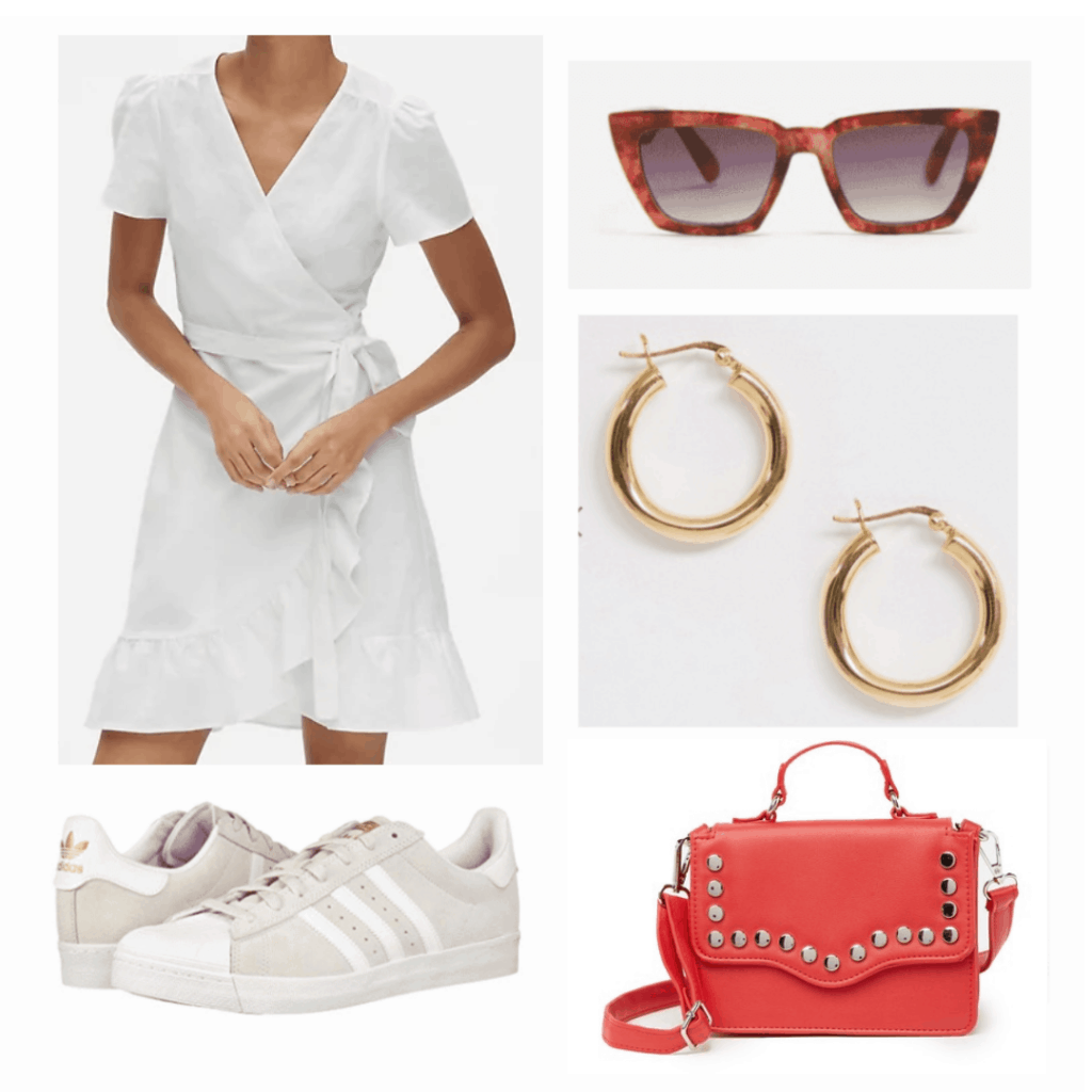 white flounce linen dress, square cat eye sunglasses, gold earring hoops, white adidas sneakers, red top handle cross body bag