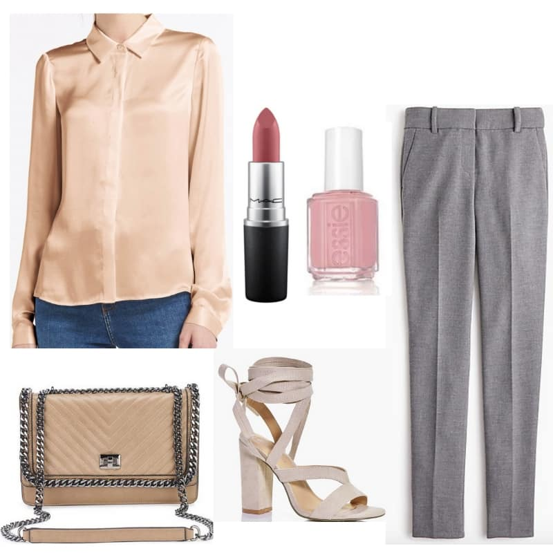Cristal Carrington Outfit from Dynasty - satin top, gray pants, chain bag