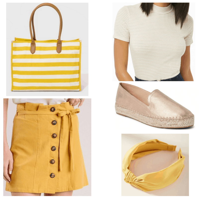 Yellow sunshine outfit: Mock neck top, yellow skirt, rose gold espadrilles, yellow headband, striped bag