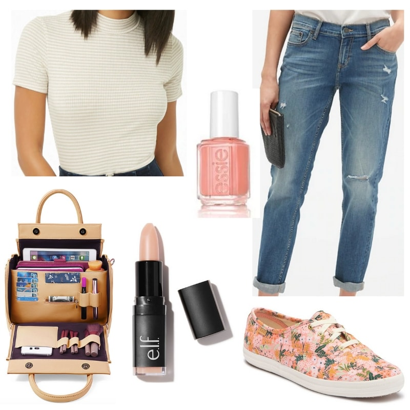 Stones N Roses Outfit: Mock neck top, boyfriend jeans, pink nail polish, floral Keds