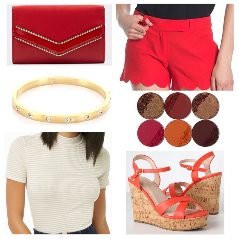 Scalloped Red outfit: Scalloped red shorts, striped mock neck top, cork wedges, gold bracelet
