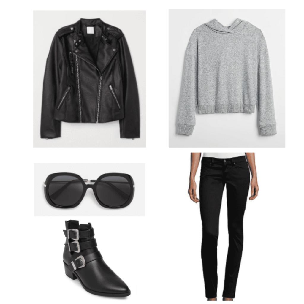 black leather jacket, gray hoodie, black round sunglasses, black buckle bootie ankles, black jeans