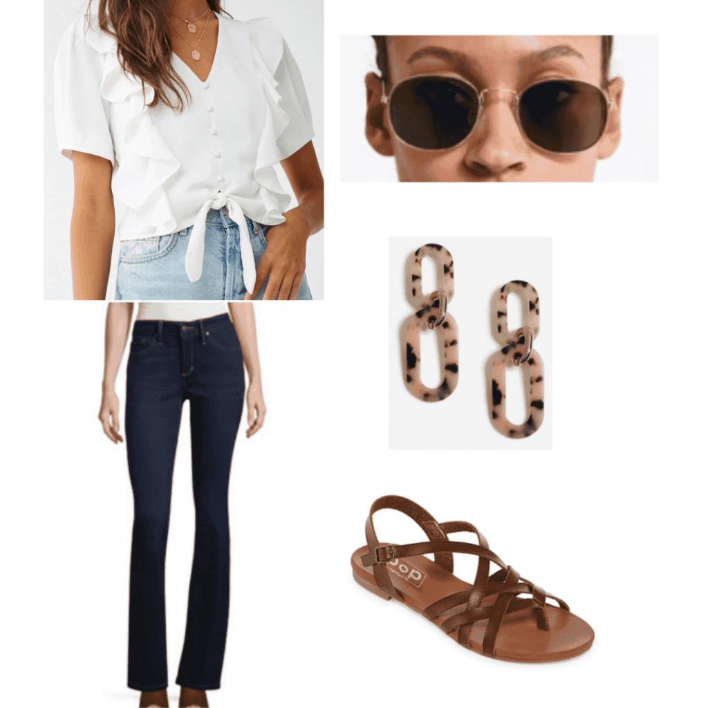 white flounce top, metal sunglasses, tortoiseshell chain link earrings, brown sandals, dark blue jeans