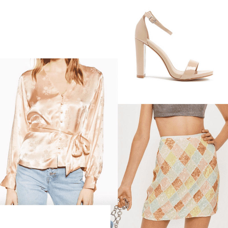 Carrie Bradshaw inspired outfit for spring with satin top, patterned mini skirt, and nude heels