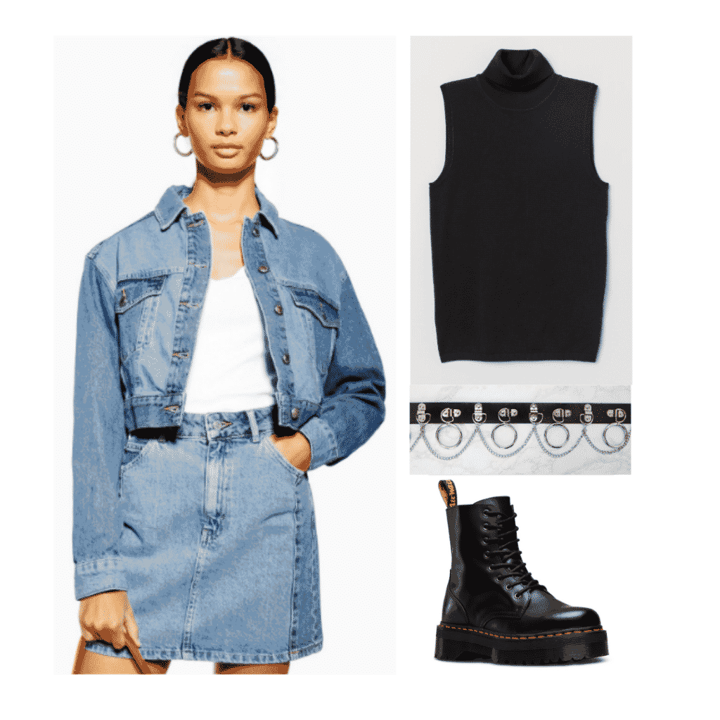 Jimin BTS fashion: Outfit inspired by Jimin's style with denim jacket, denim skirt, black tank, doc martens
