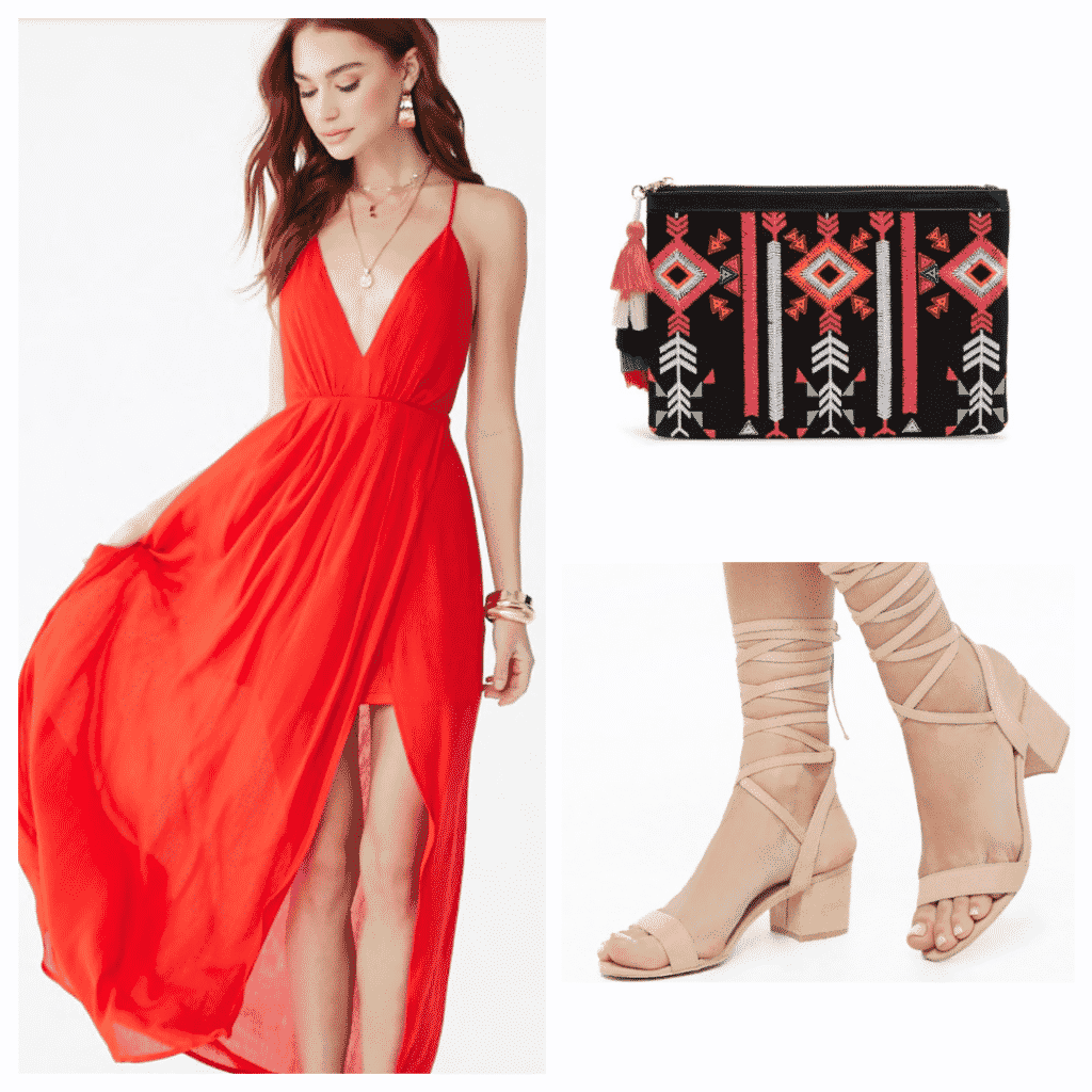 Outfit inspired by DVSN's album: Red dress, nude lace up heels, and patterned clutch