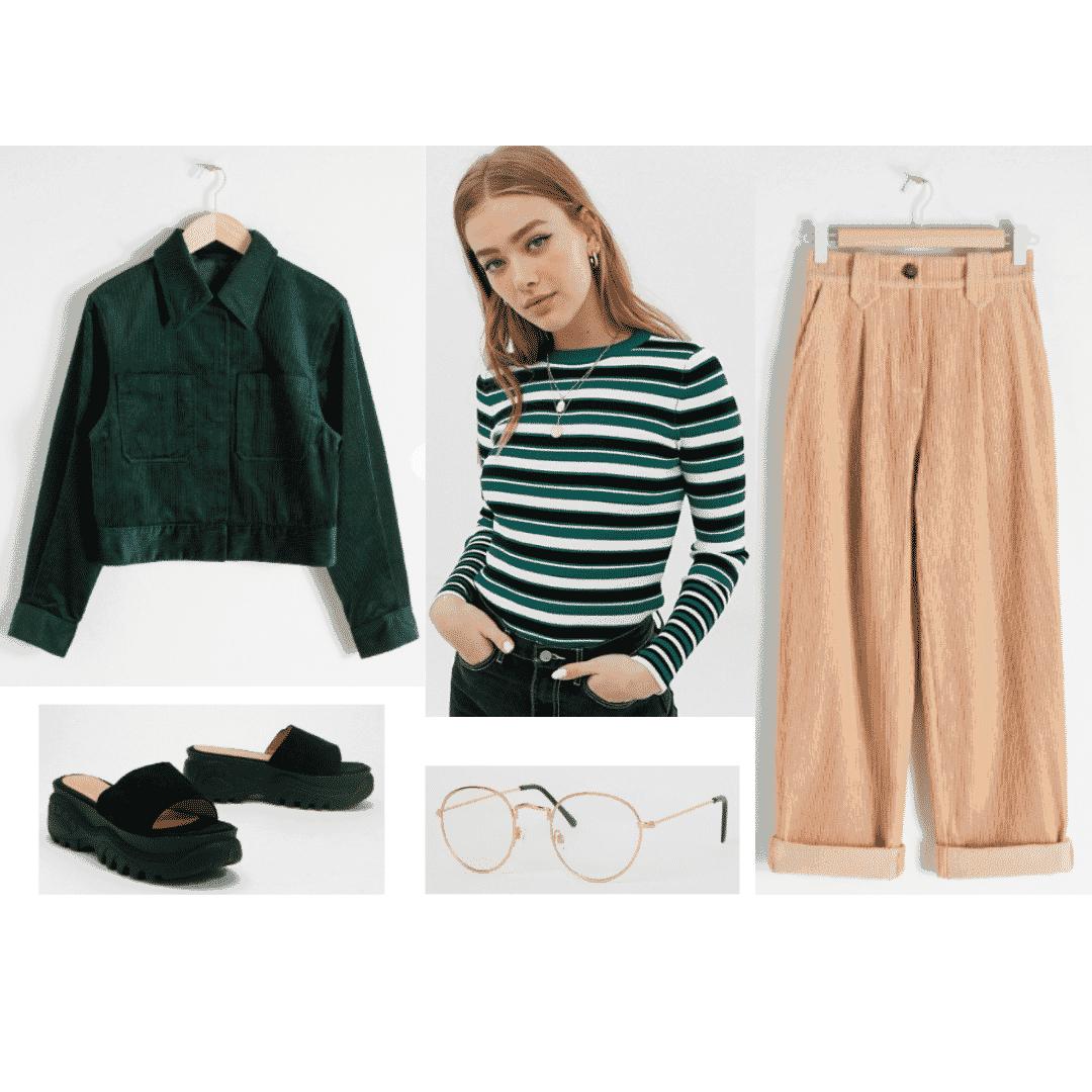 V bts fashion: Outfit inspired by V with green jacket, striped top, platform slides, glasses, beige pants