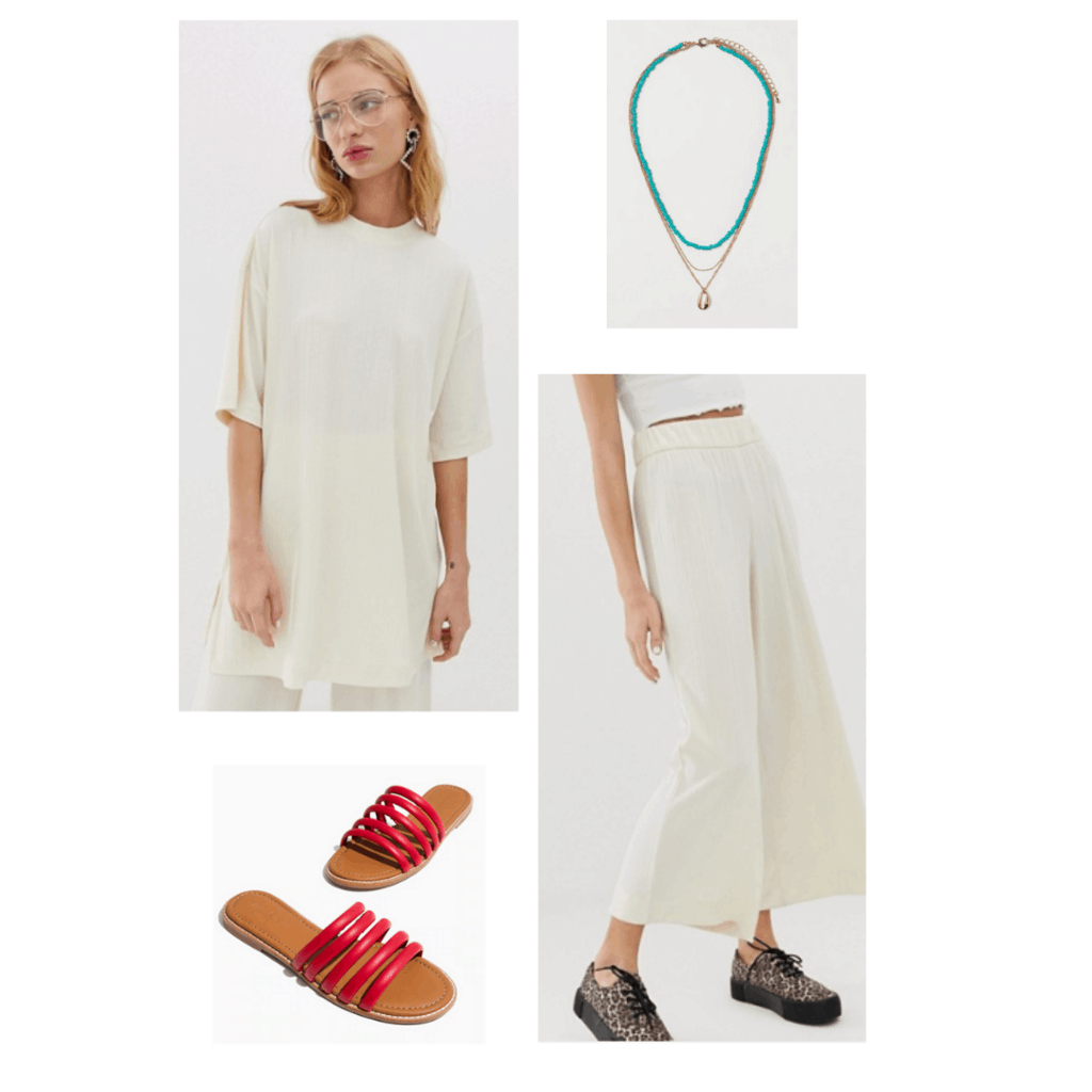 Outfit inspired by BTS RM in the Persona video trailer - all white outfit with red shoes and green necklace