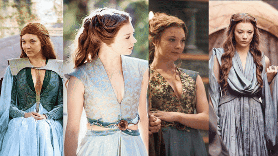 Margaery Tyrell style seasons 2-3: Blue dresses with low v necks
