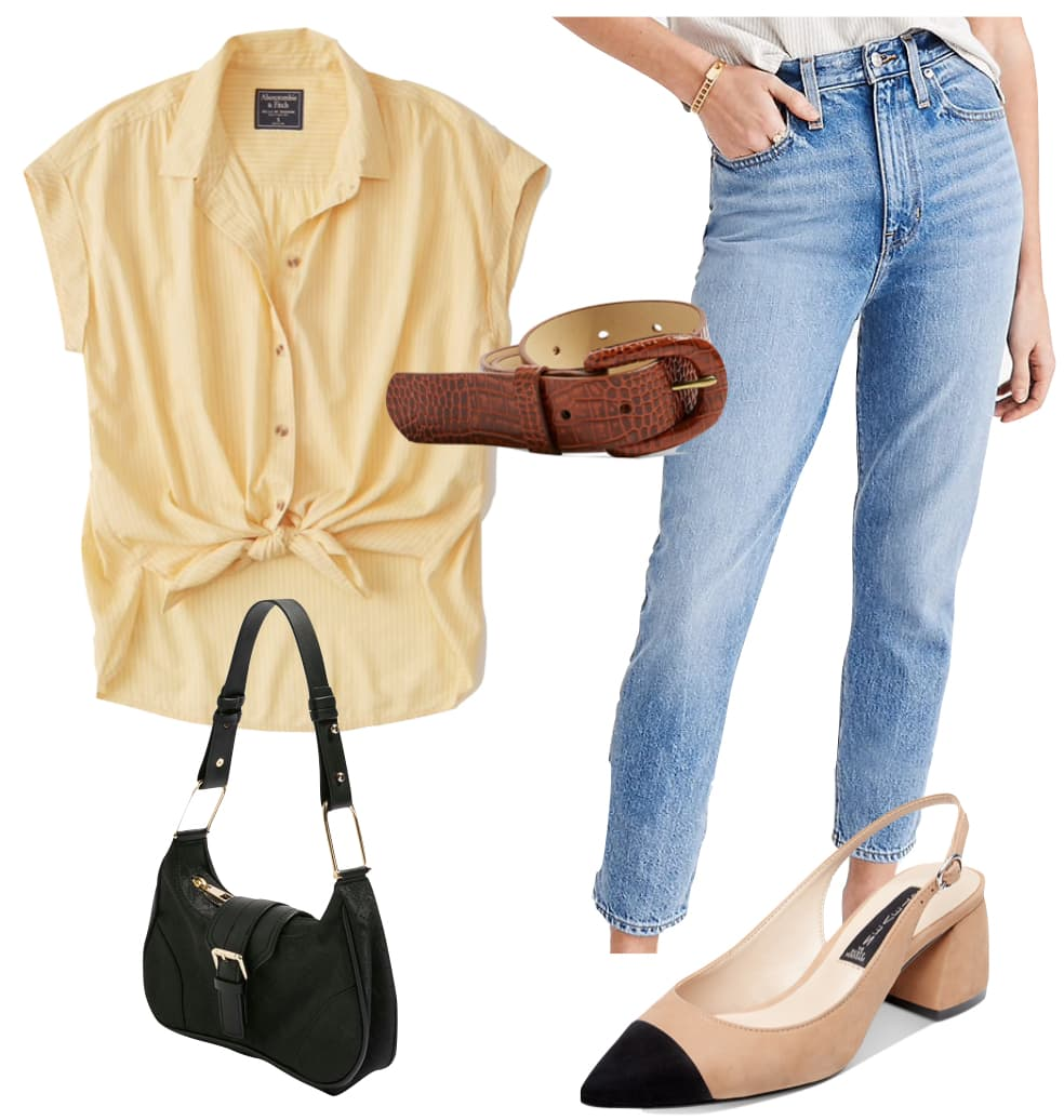 Vanessa Hudgens Outfit: yellow button-down top, brown crocodile belt, mom jeans, beige and black cap-toe pumps, and black shoulder bag