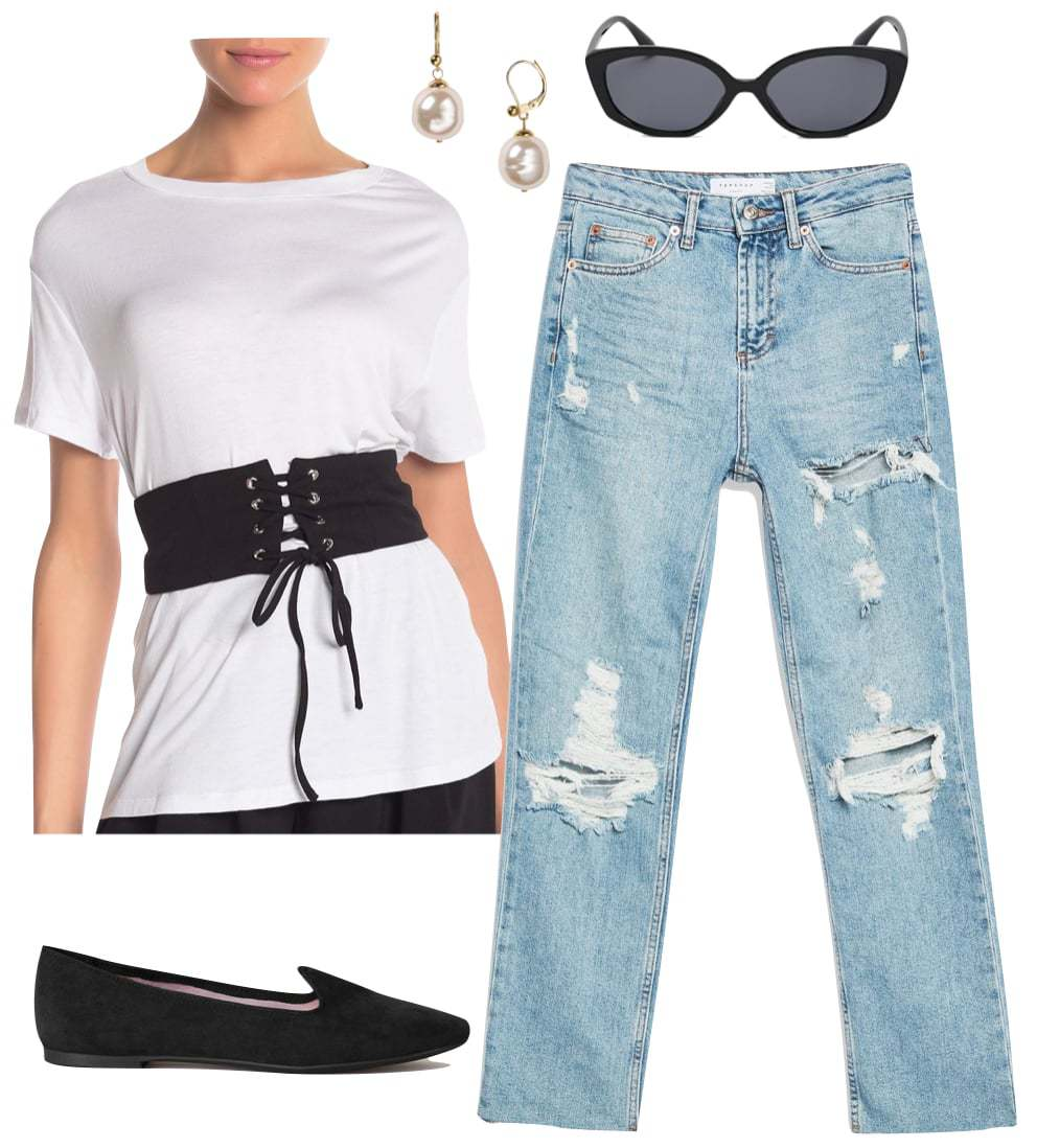 Vanessa Hudgens Outfit: corset t-shirt, ripped straight leg jeans, pearl drop earrings, squared oval sunglasses, and black flats