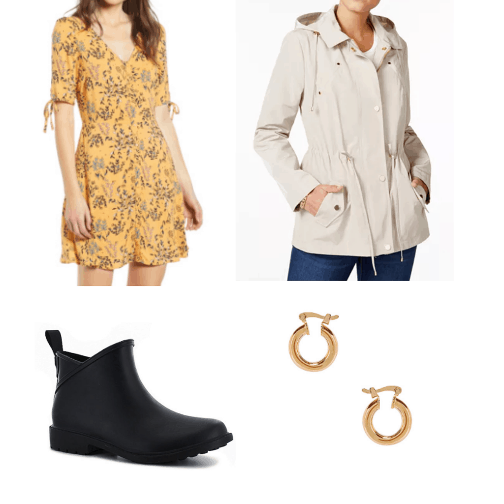 What to wear in cuba: Outfit with yellow sundress, beige rain coat, waterproof bootie shoes, gold earrings