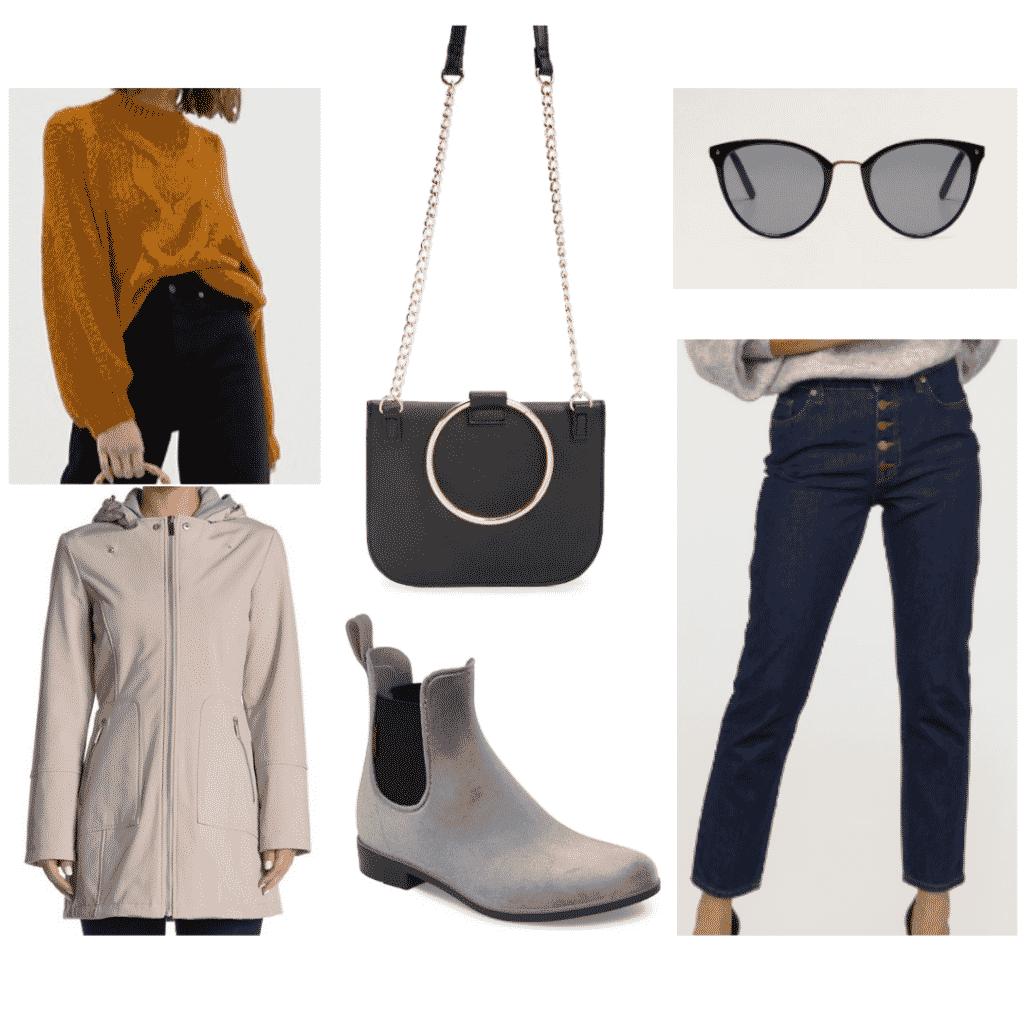 cable knit sweater, waterproof jacket, black cat eye sunglasses, metal cross body bag, waterproof boots, straight leg jeans