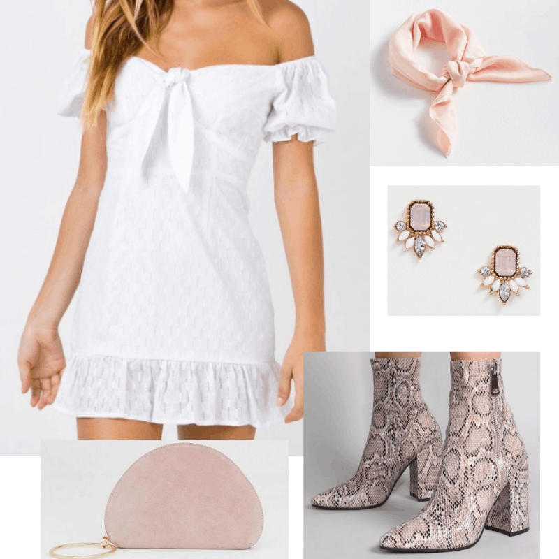 Sundress and boots outfit with white sundress, snakeskin boots, pink purse, head wrap