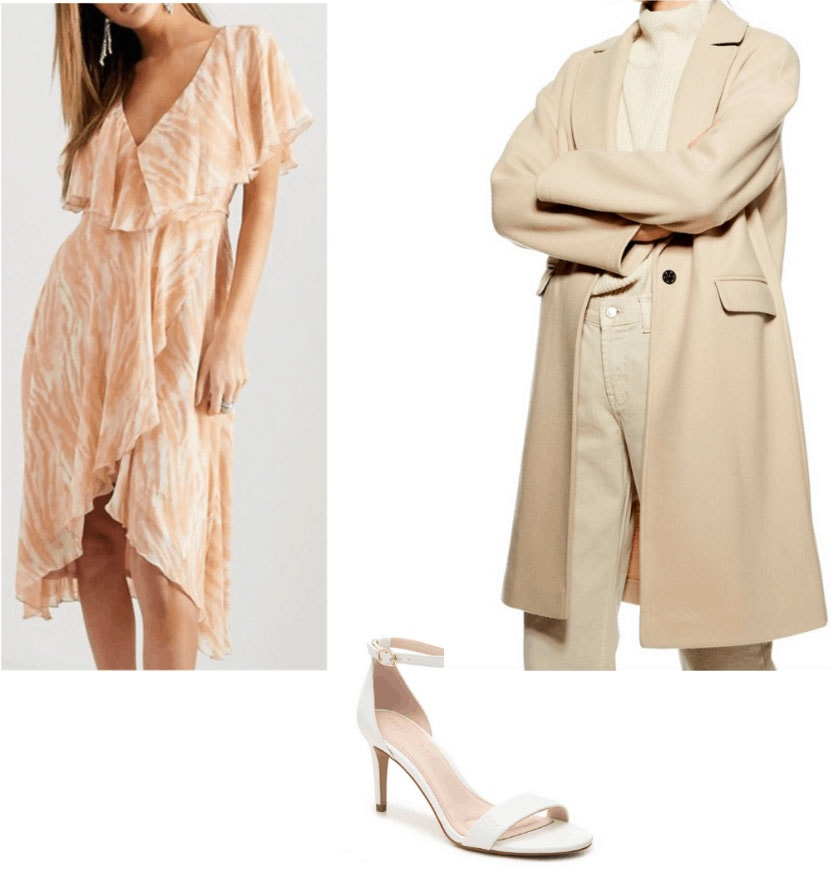 Amal Clooney style wardrobe - outfit inspired by Amal with peach dress, strappy heels, coat