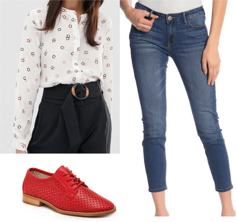 Amal Clooney inspired outfit with patterned button down shirt, skinny jeans, oxfords
