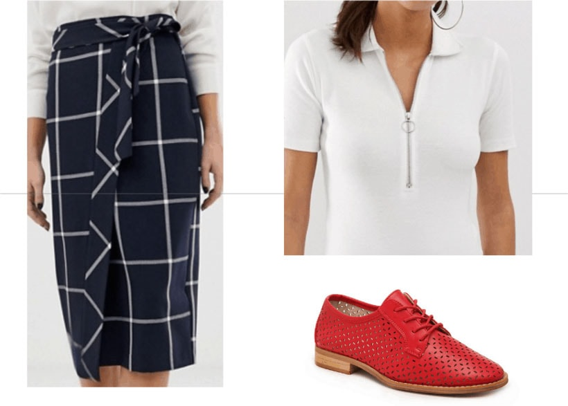 Amal Clooney inspired outfit with plaid pencil skirt, oxfords, white zip up top