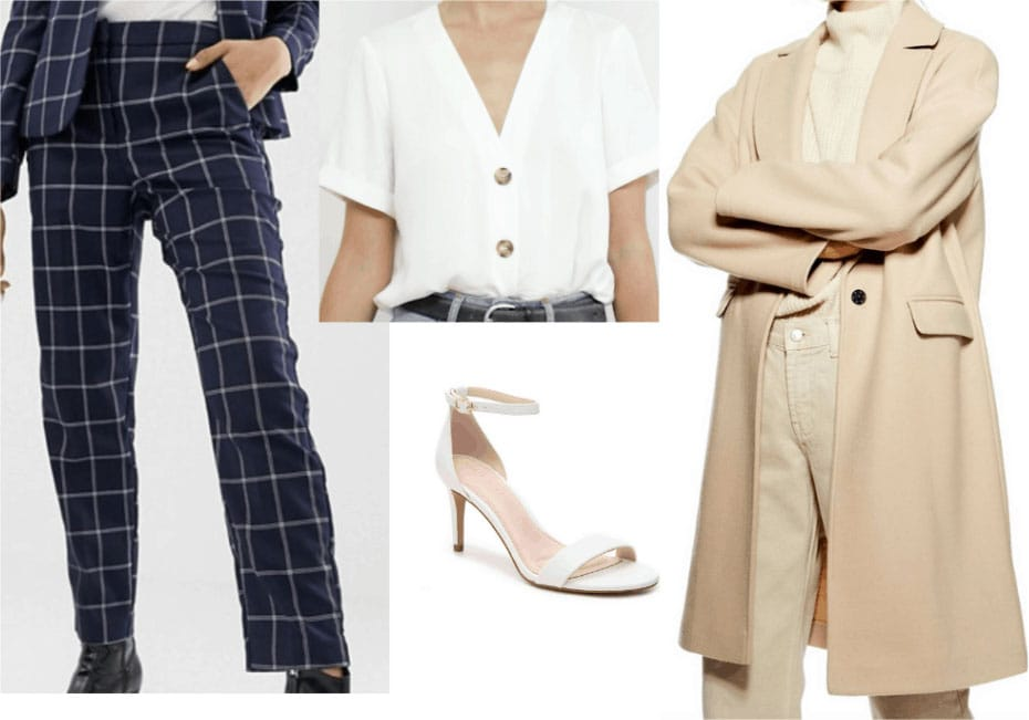 Outfit inspired by Amal Clooney with trench coat, strappy heels, plaid pants, white button-front top