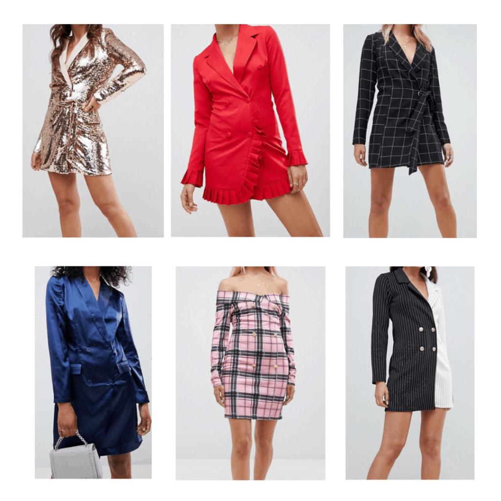 Blazer Dresses: Sequin Blazer Dress, Silk Blazer dress, Ruffle Blazer Dress, Off the Shoulder Blazer Dress, Belted Blazer dress, Two Toned Blazer Dress