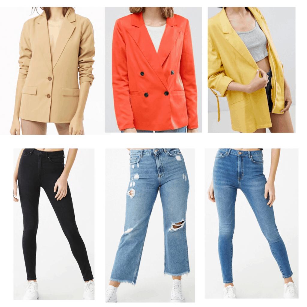 Blazer With Jeans: Tan Blazer, Black jeans, Coral Blazer, Mom Jeans, Mustard Blazer, Skinny Jeans
