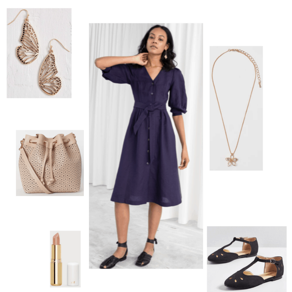 Sansa Stark inspired outfit with purple button down dress, butterfly earrings, floral necklace, woven bag