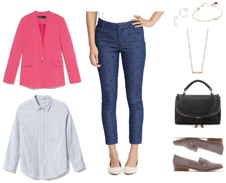 Casual Friday outfit for a formal work environment with polka dot jeans, pink blazer, chambray shirt, simple jewelry, black bag, loafers