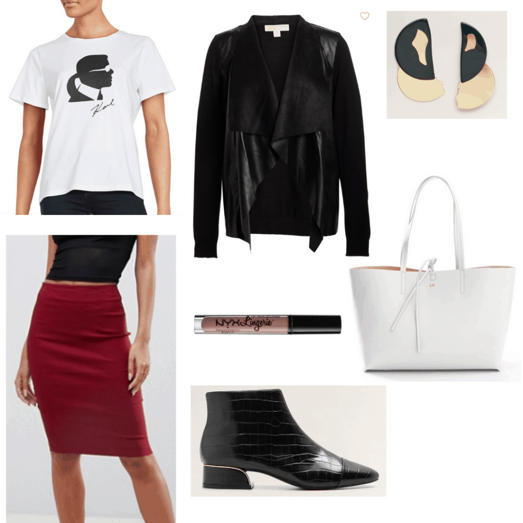 Casual friday outfit for creative work environment with black leather cardigan, burgundy pencil skirt, Karl graphic tee, funky earrings, black ankle boots