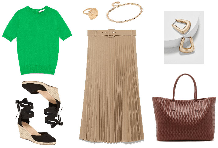 Casual Friday outfit for a formal work environment with pleated skirt, espadrilles, woven tote bag, green 3/4 sleeve sweater, gold jewelry