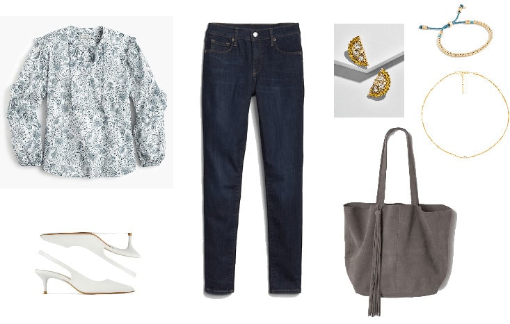 Casual friday outfit for casual work environment: Dark wash jeans, printed top, white slingbacks, dainty jewelry, fringe tote