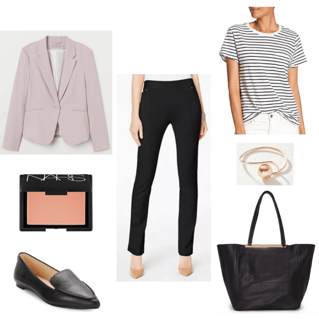 Casual Friday outfit idea for conservative office with black loafers, black pants, striped shirt, pink blazer, pink ring and blush, black tote bag