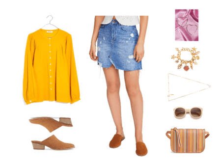 Bright yellow long-sleeved blouse, chestnut suede pointed-toe mules with low heel, destroyed denim mini skirt, large gold heart-shaped hoop earrings, shell charm bracelet, opal necklace, pale pink oversized round sunglasses, cognac brown leather fanny pack with thin, multi-colored vertical stripes