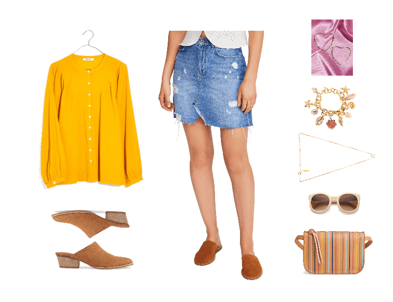 Bright yellow long-sleeved blouse, chestnut suede pointed-toe mules with low heel, destroyed denim mini skirt, large gold heart-shaped hoop earrings, shell charm bracelet, opal necklace, pale pink oversized round sunglasses, camel brown leather fanny pack with thin, multi-colored vertical stripes