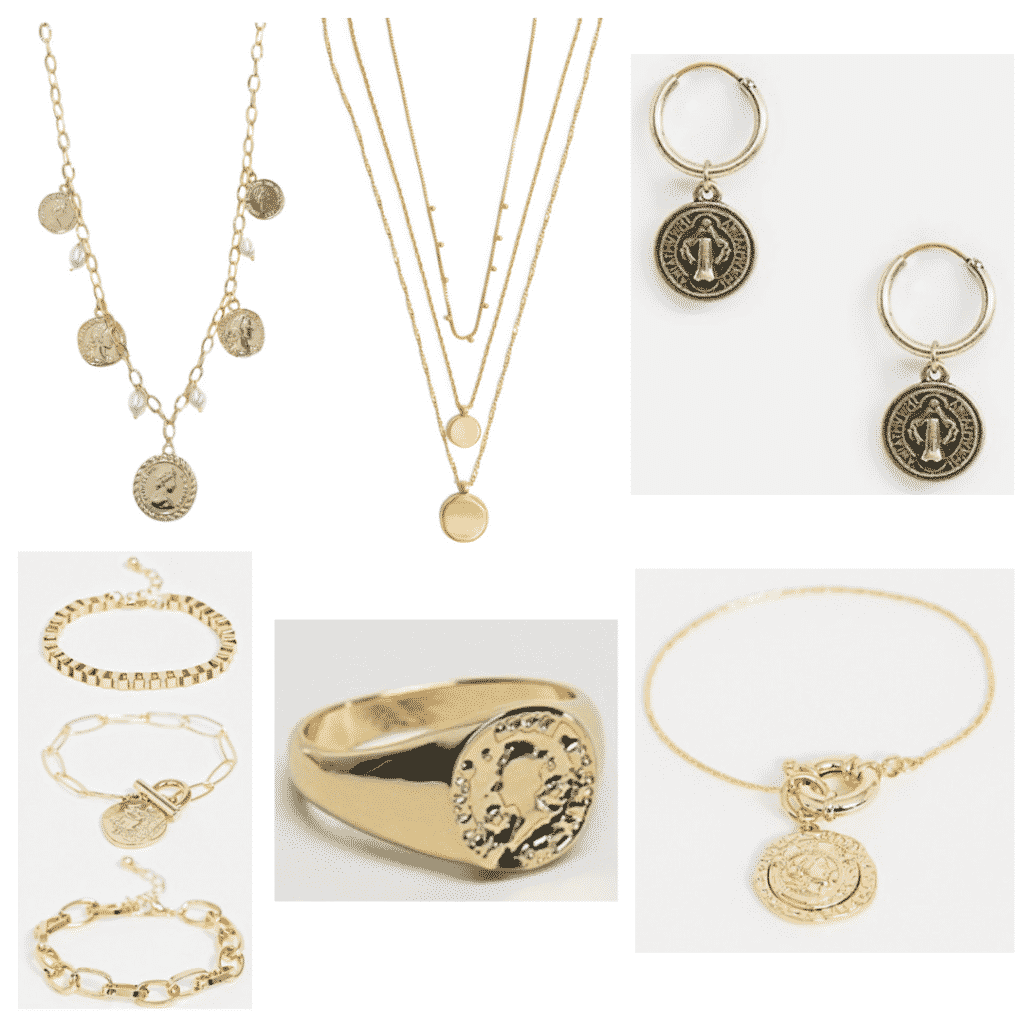 Coin Jewelry: Coin necklace, coin bracelets, coin layered necklace, coin ring, coin earrings, coin bangle