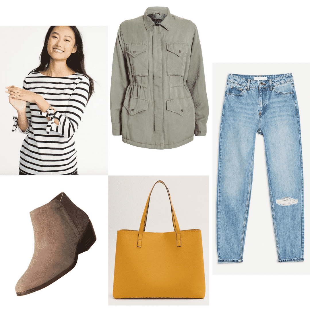 Comfortable airport outfit: Cargo jacket, tee, and mom jeans