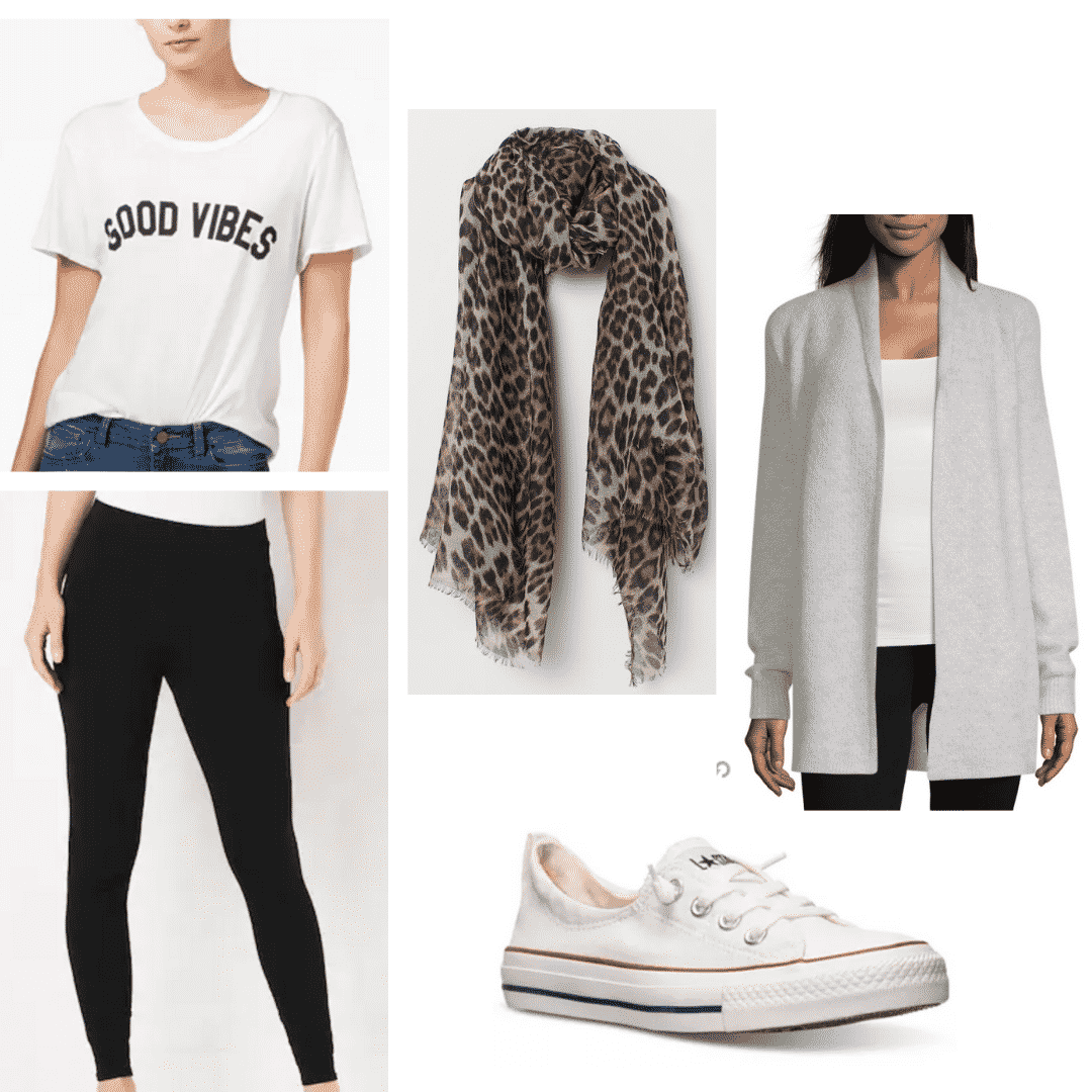 Comfortable airport outfit: Leggings + graphic tee + oversized cardigan + slip ons