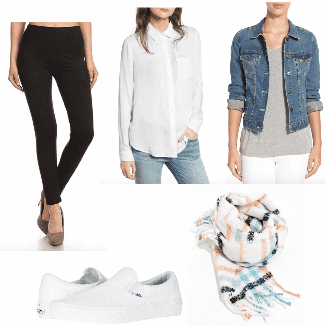 Comfortable airport outfit: Leggings + long-sleeve + oversized cardigan + slip ons
