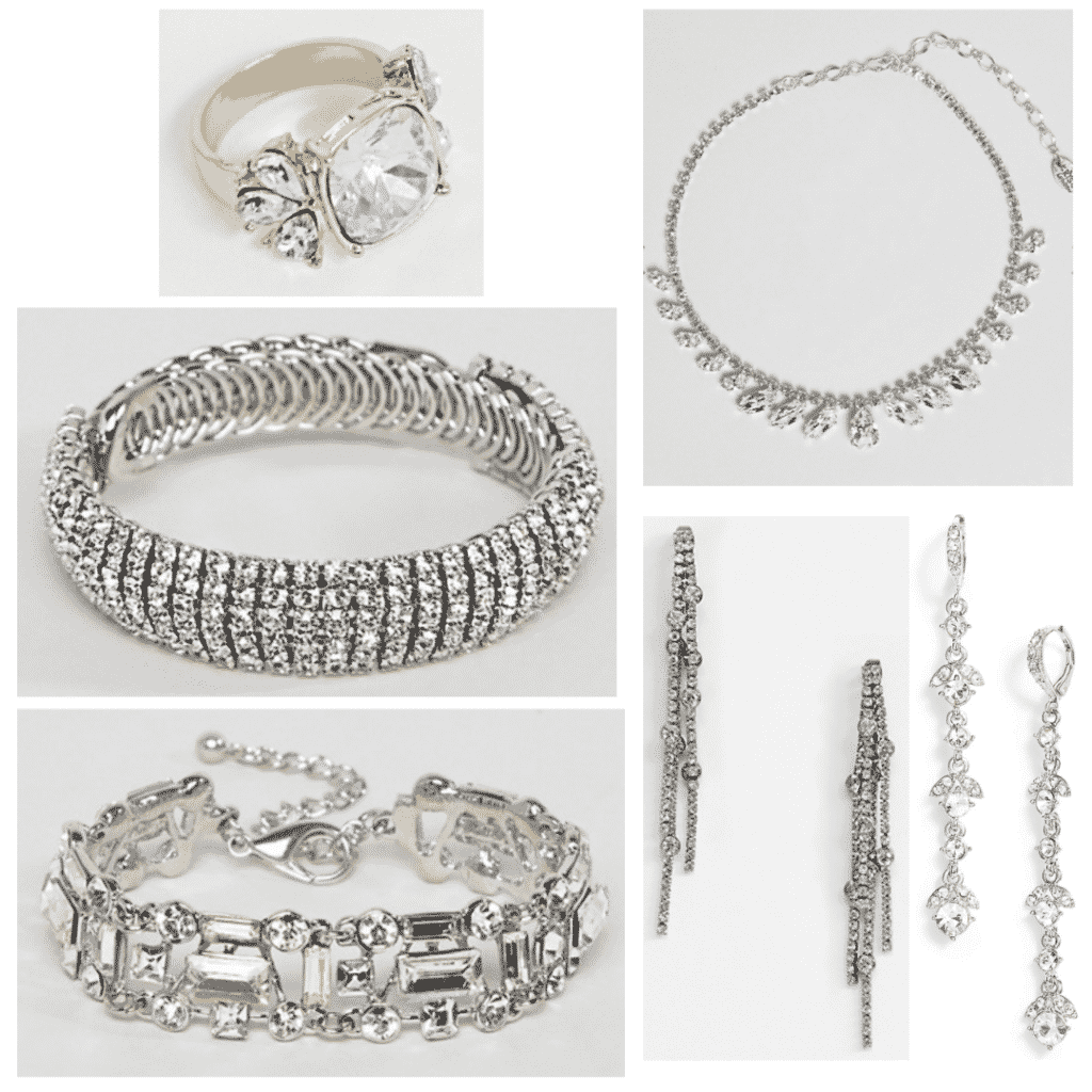Crystal Jewelry: Stone ring, crystal bangle, crystal chain bracelet, crystal necklace, drop earrings