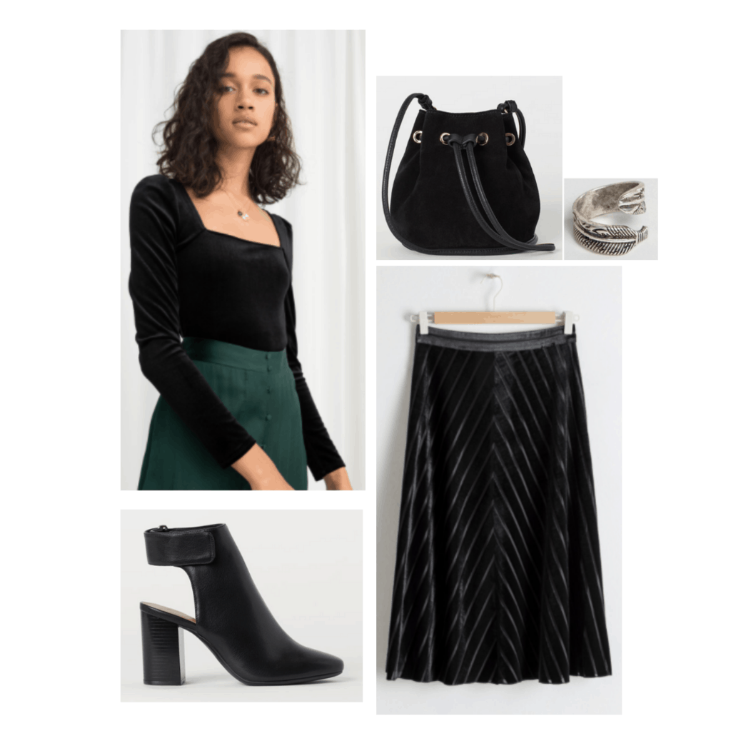 Sansa Stark inspired outfit with dark velvet midi skirt, square neck top, cutout booties, bucket bag, silver feather ring