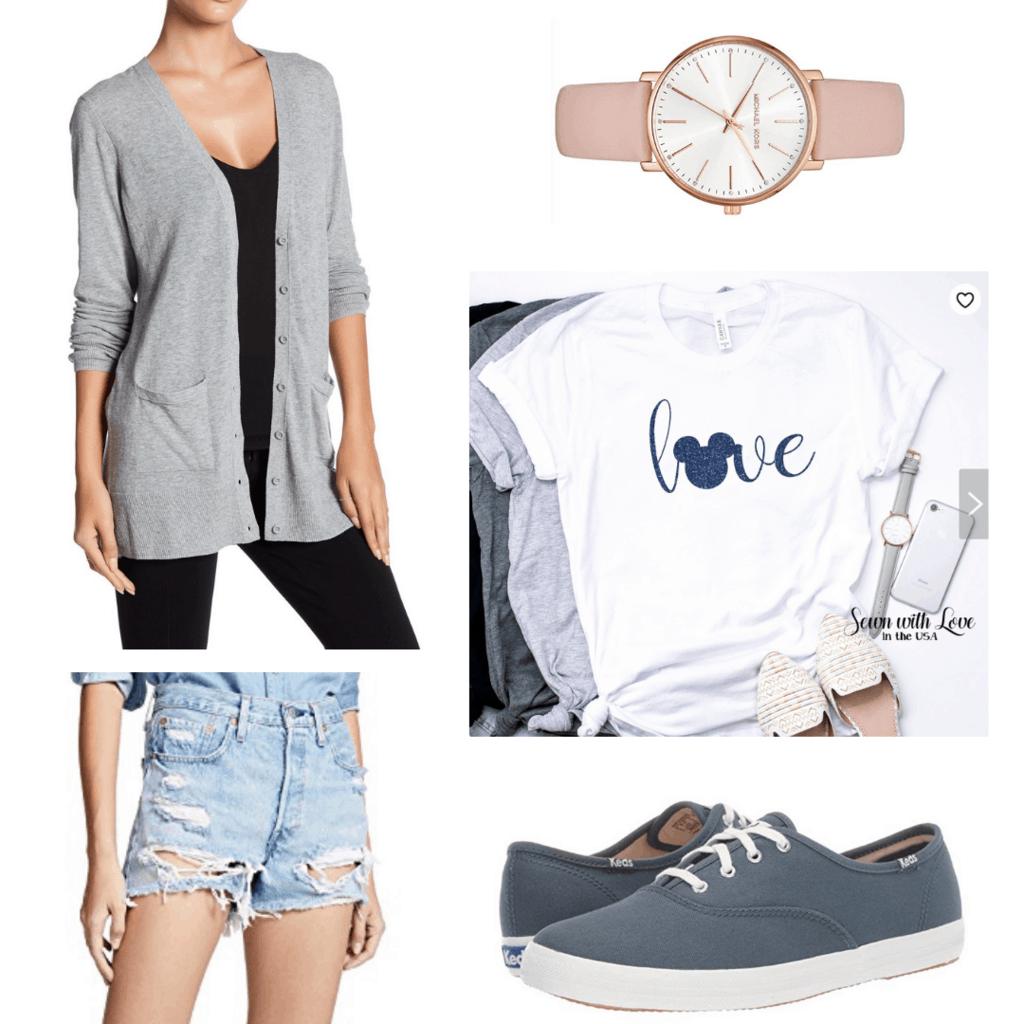 Disney parks outfit idea with gray cardigan, Disney tee shirt, blush pink watch, denim cutoffs, Keds