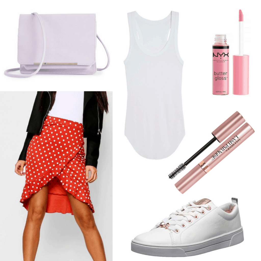 Minnie Mouse inspired Disney outfit with polka dot skirt, white tank top, purple bag, rose gold sneakers, lip gloss, mascara