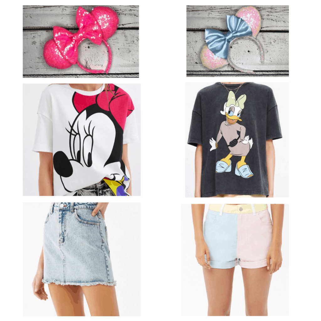Disney Summer Outfits: Pink Ears, Minnie Shirt, Denim Skirt, White Ears, Daisy Shirt, Pastel Shorts