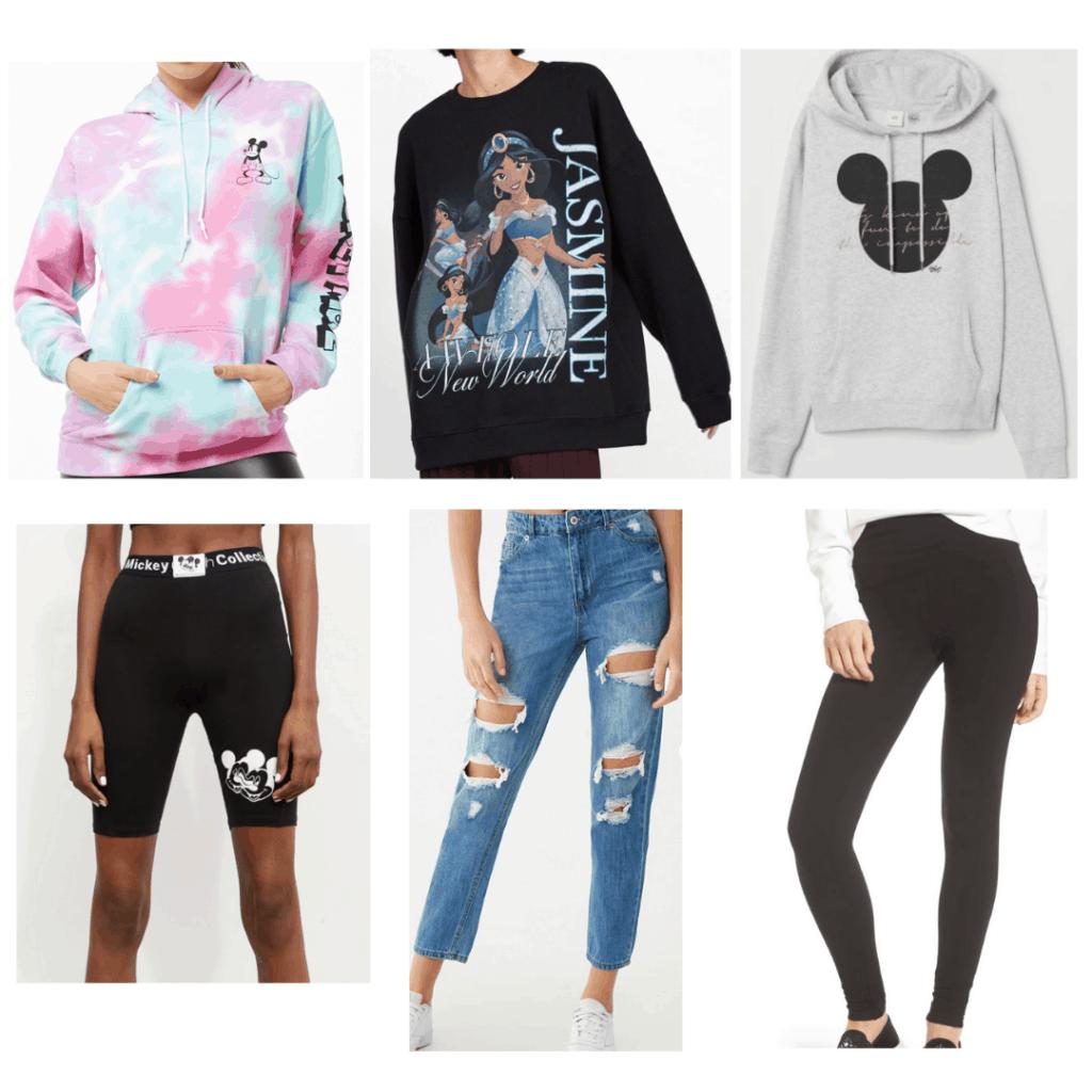 Disney Outfits: Tie Dye sweatshirt, Bike Shorts, Jasmine Sweatshirt, Boyfriend Jeans, Mickey Head Sweatshirt