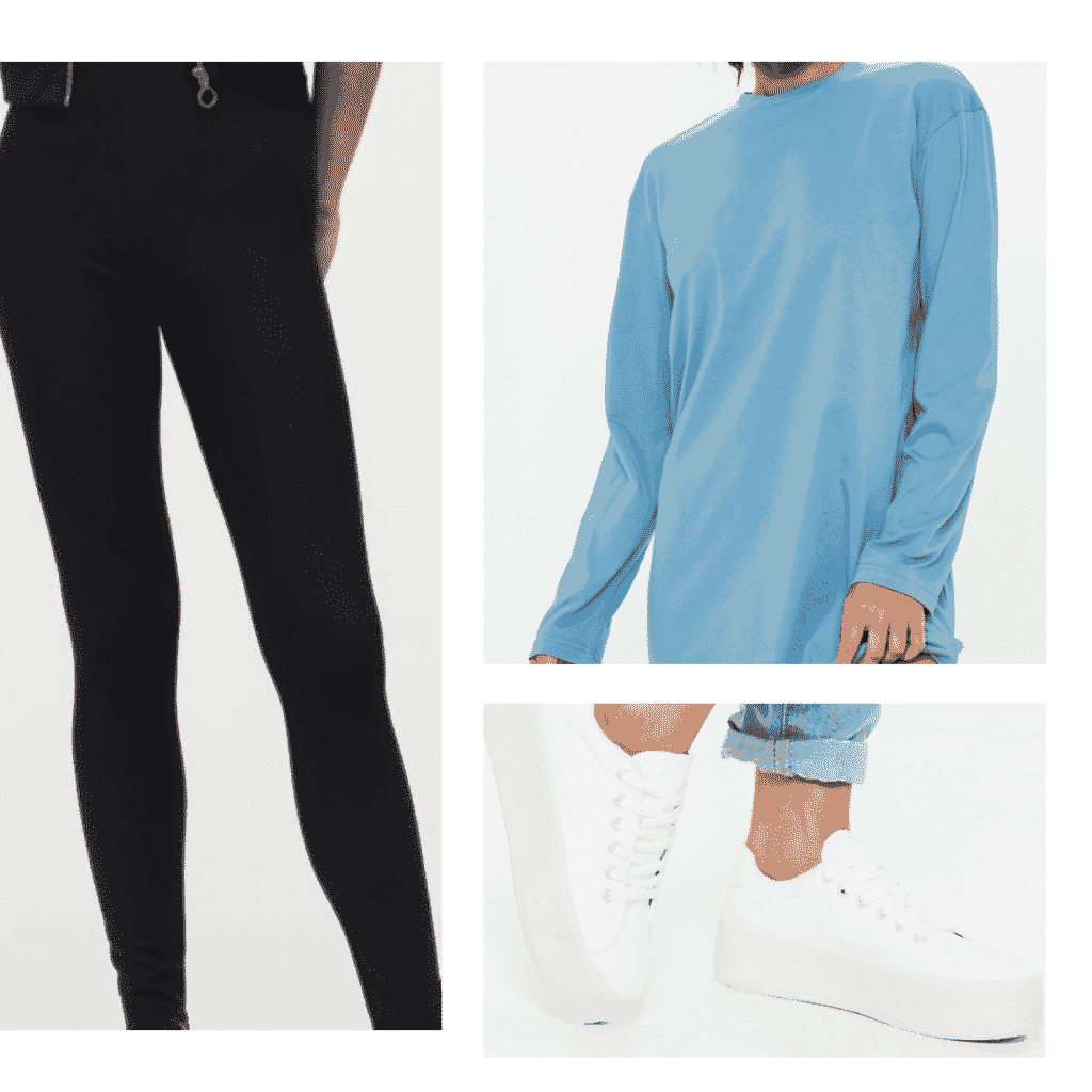 Outfit inspired by DVSN's album: Blue long sleeve top, black leggings, white flatform sneakers