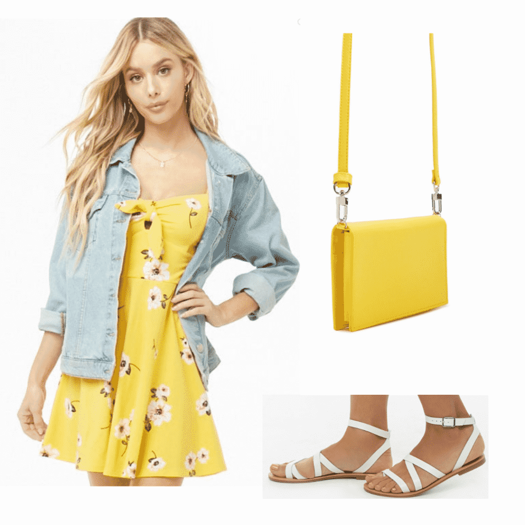 Outfit inspired by DVSN's music: Yellow dress, white sandals, yellow purse