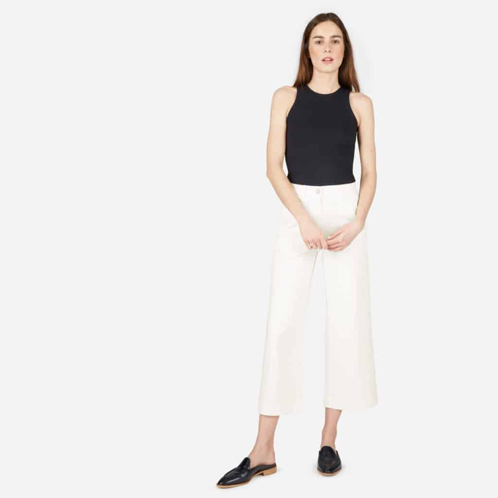 High-Rise Wide Cropped Pant in Bone from Everlane