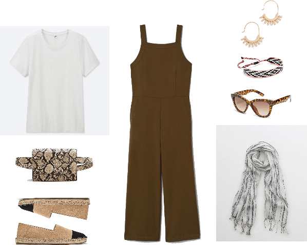 Fanny pack outfit with White crewneck short-sleeved t-shirt, snake-print fanny pack, faux-suede, flat-soled beige espadrilles with black cap-toe; dark khaki green sleeveless jumpsuit, gold semi-hoop earrings with small